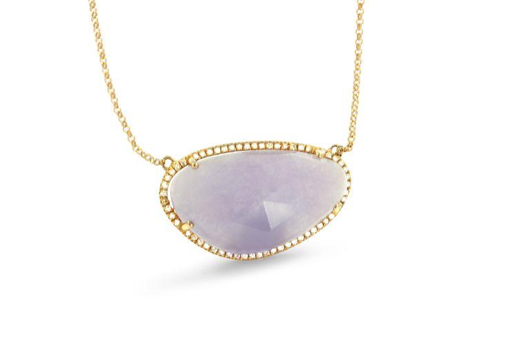 18 ct rose gold purple aventurine necklace pavé set with white diamonds