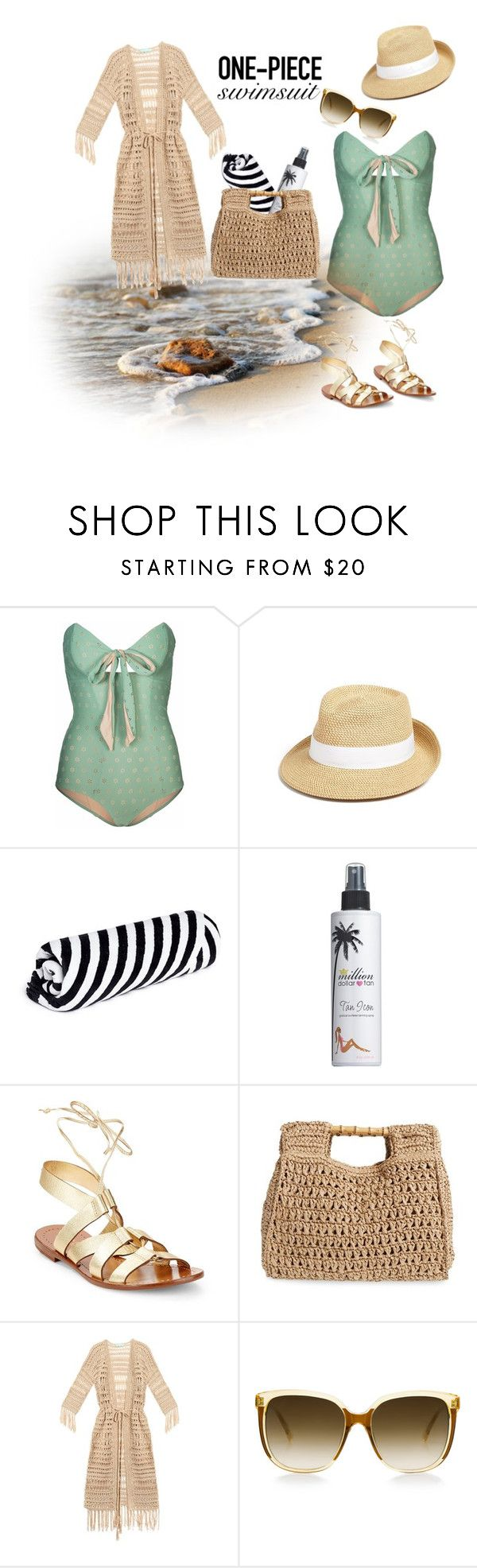 """One-Piece"" by medgurl ❤ liked on Polyvore featuring Lilliput & Felix, Eric Javits, The Beach People, Million Dollar Tan, Kate Spade, San Diego Hat Co., Melissa Odabash and onepieceswimsuit"