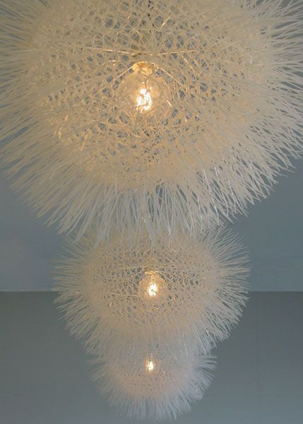 """There isn't a tutorial for this light-sphere, but the """"Dandelion"""" is made entirely of cable-ties. Interesting looking outcome."""