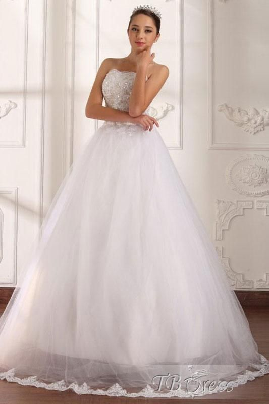 Gorgeous A-Line Floor-Length Strapless Appliques Wedding Dress   ideas for my wedding   Pinterest   Wedding dresses, Applique wedding dress and Dresses