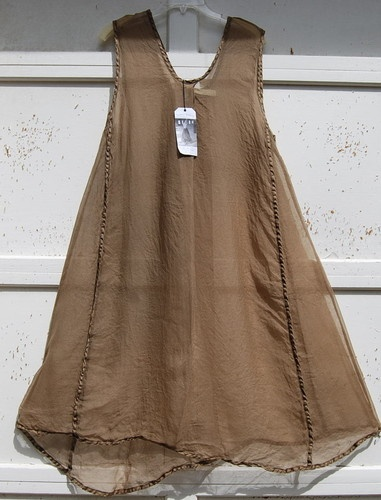 NWT Cynthia Ashby ROUX CAMEL Light Weight Silk Tulle A-Line Apron Tunic/ Dress L