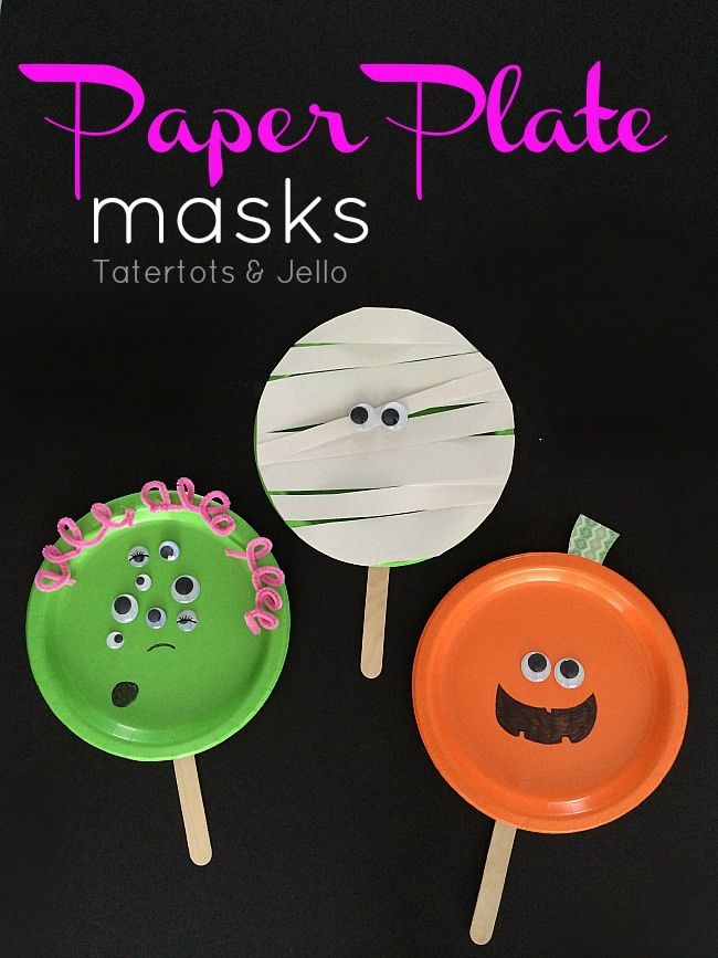 paper plate masks for halloween - great classroom project!