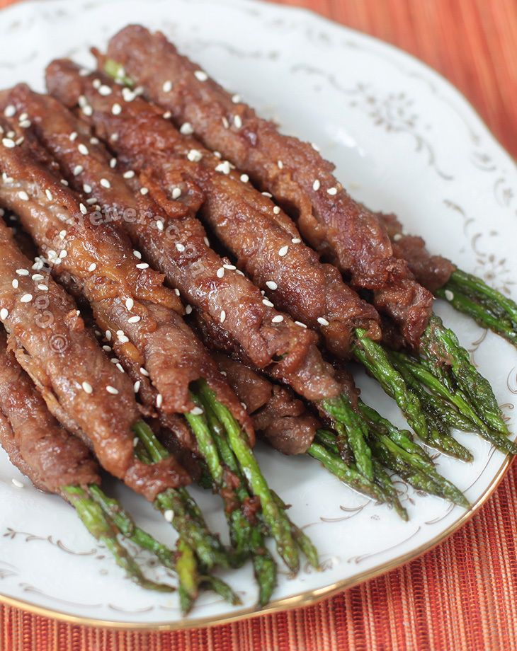 A variant of the Japanese negimaki, beef-wrapped asparagus with teriyaki sauce can be served as an appetizer or with rice for a light meal.