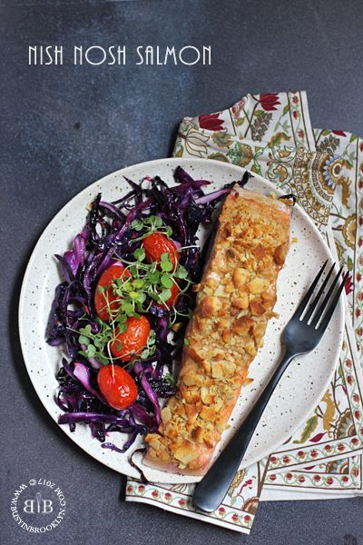 Nish Nosh Salmon - baked salmon with a crispy cracker crust with roasted cabbage and tomatoes all baked on one sheet pan!