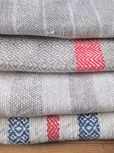 Herringbone Twill and Plainweave towels - I love the blue and pink accents
