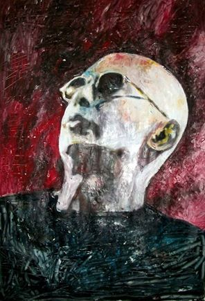 """""""Indio"""" El Indio Solari - Patricio Rey y los Redonditos de Ricota - mixed media - 28x40 inches - Original art by Marcelo Neira"""