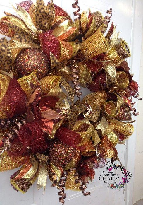 bronze deco mesh | Deco Mesh CHRISTMAS Wreath For Door or Wall Bronze Gold Copper Cheetah ...