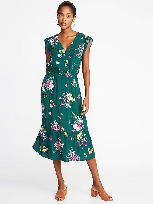 ffe8ddc0991 Waist-Defined Flutter-Sleeve Midi for Women