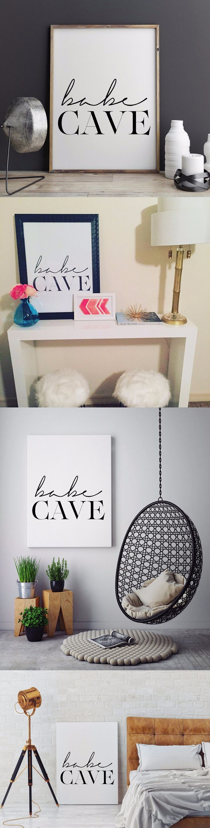 HOT Babe Cave Wall Art, Scandinavian Poster, Affiche Scandinave, Babe Cave,Typography Print canvas painting Bedroom Home Decor $7.99