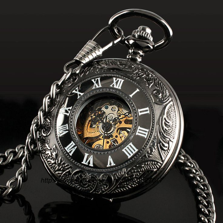 Aliexpress.com : Buy Classic Steampunk Roman Dial Mechanical Skeleton Steel Mens Black Windup Pocket Watch from Reliable watch band man 50 suppliers on watch time