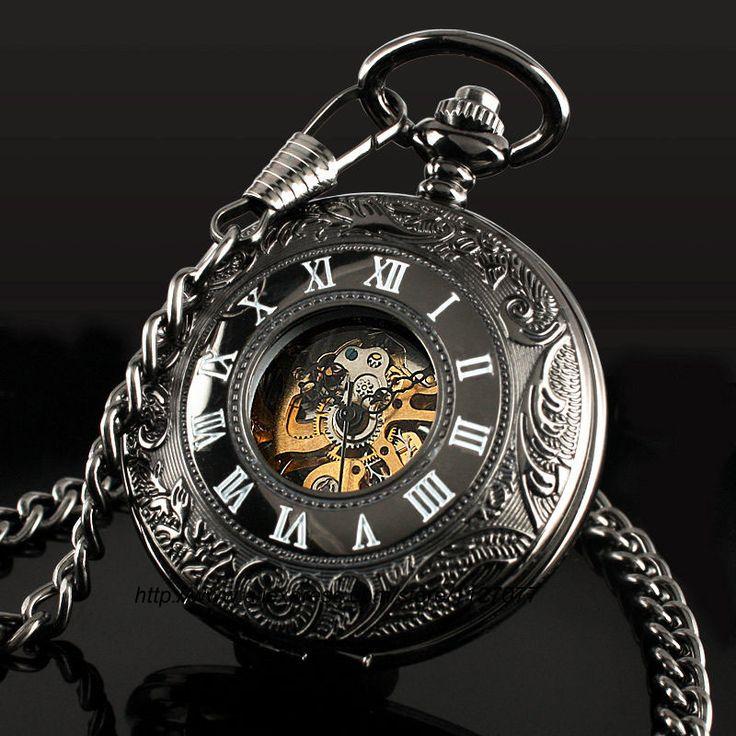 Barato Clássico Steampunk Roman Dial esqueleto mecânico de corda de aço preto dos homens relógio de bolso, Compro Qualidade Relógios de bolso diretamente de fornecedores da China:              Clássico Steampunk Roman Dial Mecânica esqueleto de aço preto dos homens Windup relógio de bols