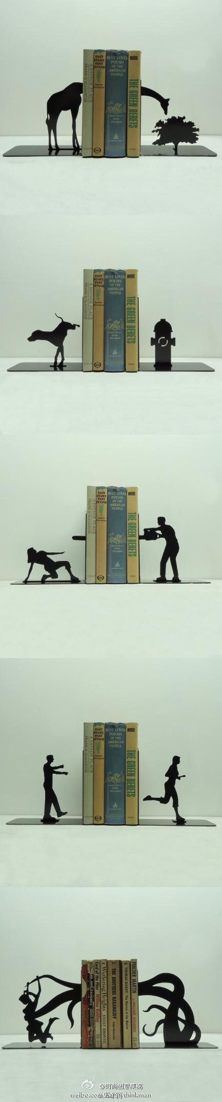 Bookends (okay, stretching my category, but still cool.) Top one - for travel or zoology books. Next - animal stories or pet training. Third, horror or mystery.  Fourth, exercise or relationships.