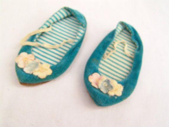 Vintage Chatty Cathy Doll Blue Velour Slipper by TheRustyChicken