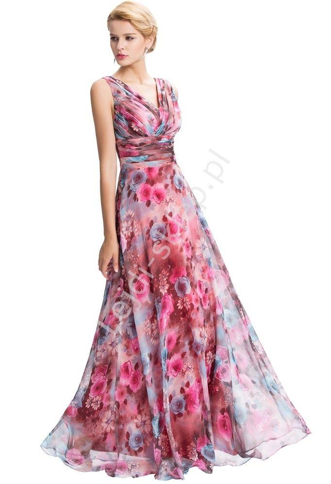 d57624084 Suknia w róże. Suknia na wesele, dla druhen , śwaidkowych, Matki Panny  Młodej | Style | Sukienki, Sukienka i Szyfon