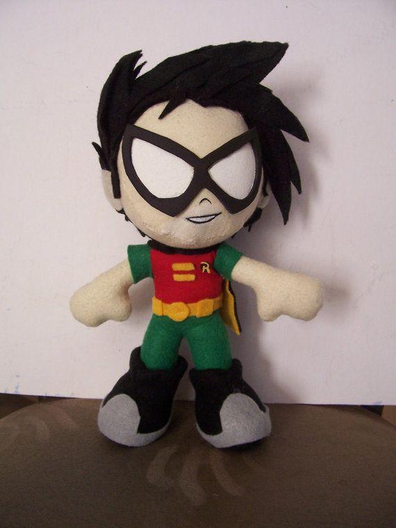 "Robin from Teen Titans: Handmade Plush 10"" $36"