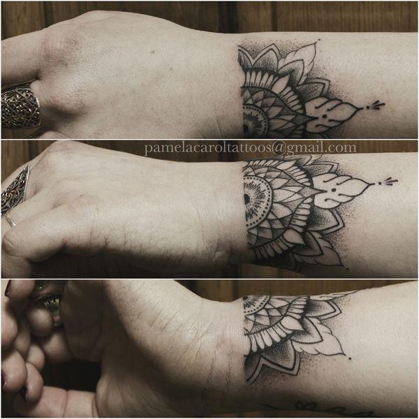half mandala tattoo on wrist