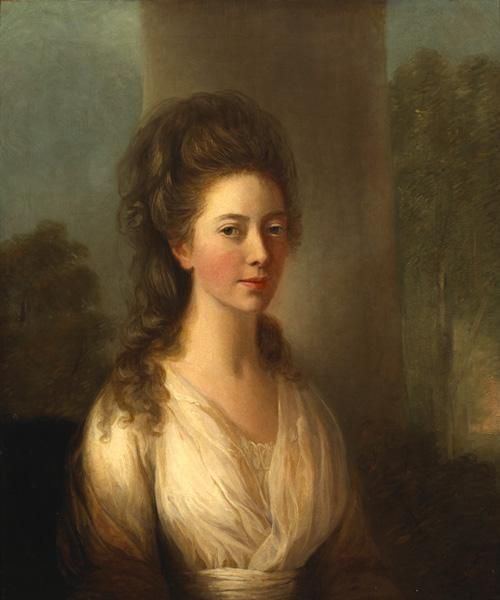 Thomas Hickey (1741-1824) PORTRAIT OF MARY WATHEN BY A COLUMN IN A WOODED LANDSCAPE oil on canvas with hand-written labels relating to the sitter on reverse h:29.25 w:25 in.