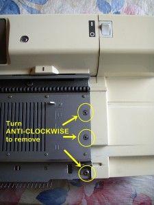 Brother Knitting Machine Repair 04 - Remove Screws