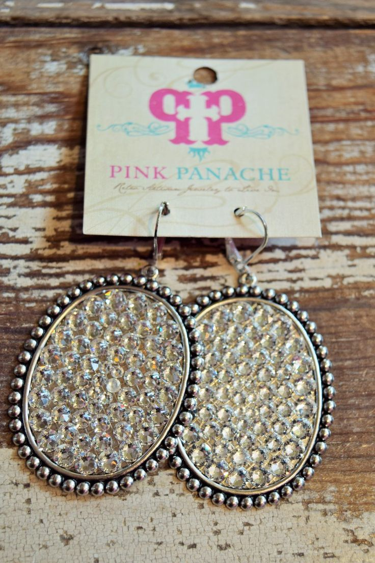 Pink Panache- Oval full bling earrings - Silver with Silver