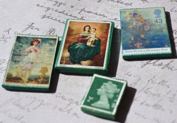 Quirky treasures  Postage stamps  3D   by Raspberrytreats on Etsy