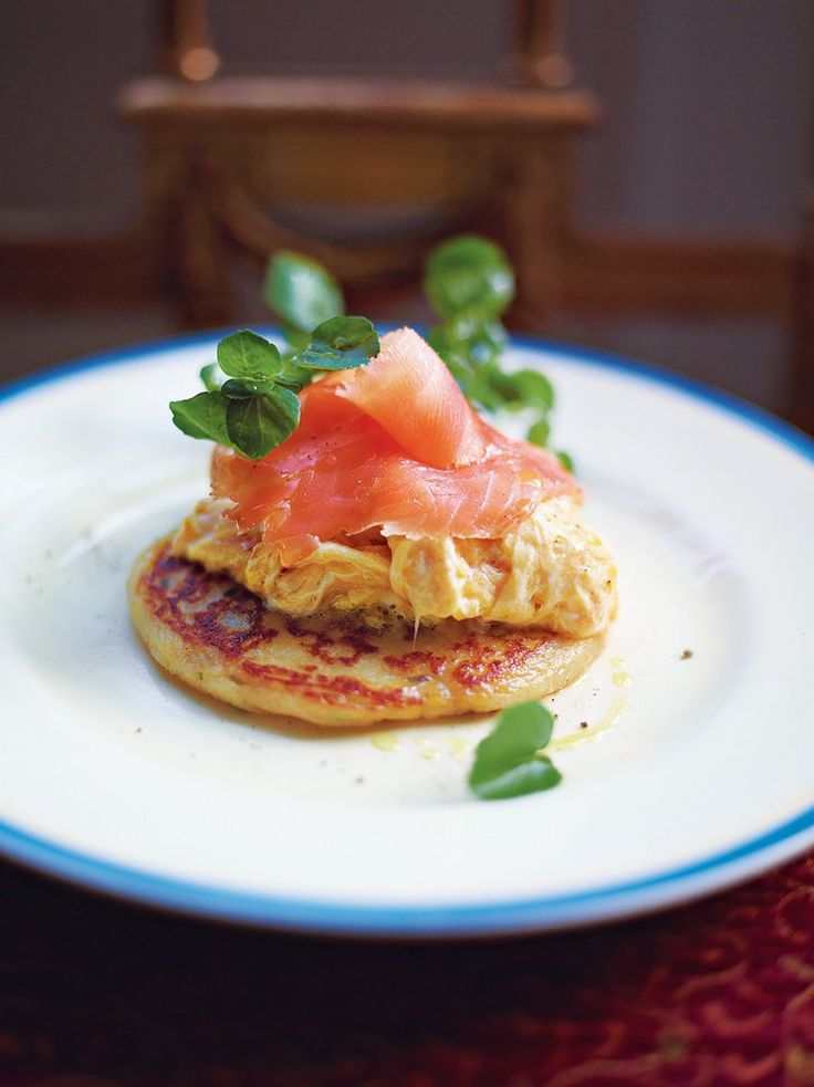 Glasgow potato scones with best scrambled egg and smoked salmon