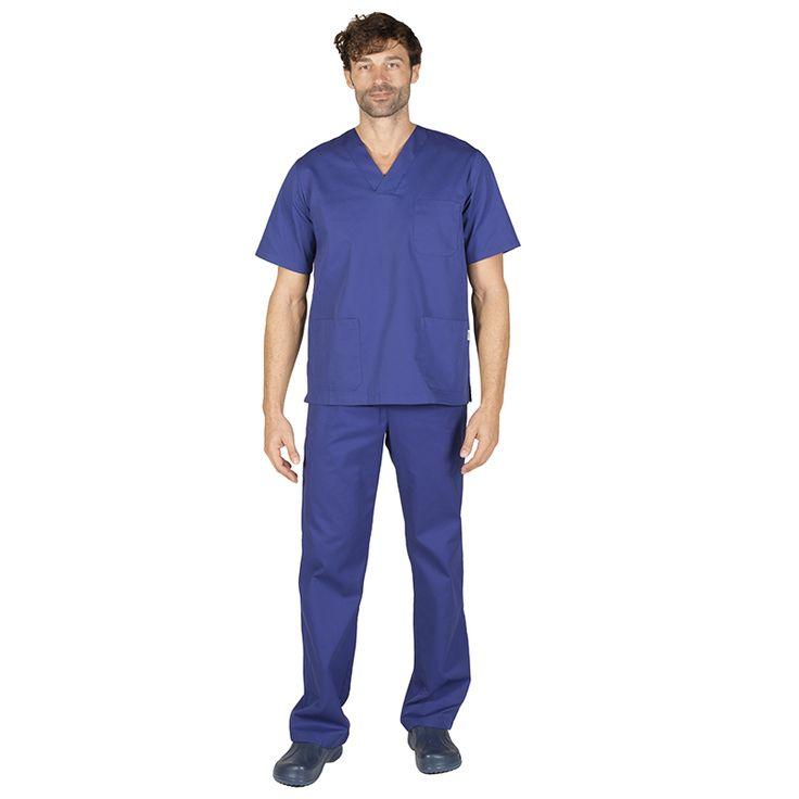 843 conjunto sanitario unisex pico y pantalón con botón en color azulina