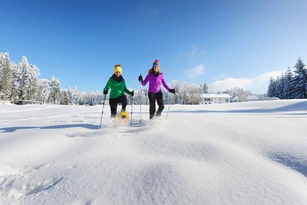 Beim #Schneeschuhwandern durch das #Granithügelland den #Weitblick genießen. Weitere Informationen zu #Winterurlaub im #Mühlviertel unter www.muehlviertel.at/winteraktivitaeten - ©Oberösterreich Tourismus/Röbl