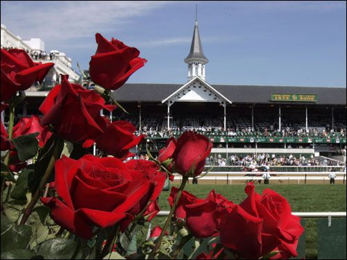 Run for the Roses at Churchill Downs with twin spires and roses in bloom.