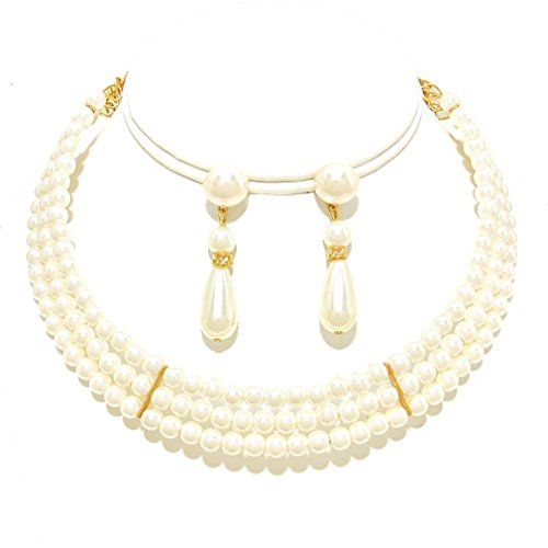 Affordable Wedding Jewelry Cream Three Strand Pearl Gold Earrings Choker Necklace Set Affordable Wedding Jewelry http://www.amazon.com/dp/B017RY7N4M/ref=cm_sw_r_pi_dp_W5Fqwb11RGK0D
