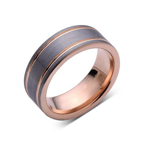 Rose Gold Tungsten Wedding Band - Gray Brushed Tungsten Ring - 8mm - Pipe Cut - Mens Ring - Tungsten Carbide - Engagement Band - Comfort Fit