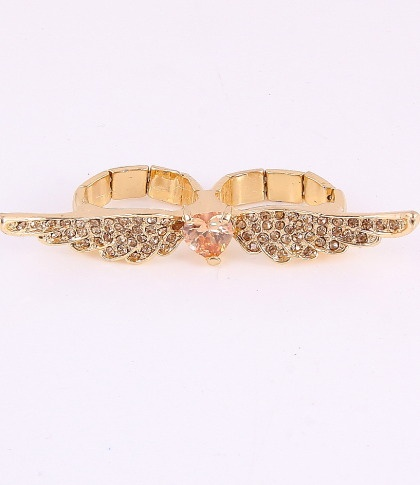 """Stretch Ring / surface 2.5""""L / wing / rhinestone / gold color / lead & nickel compliant      $11.25"""