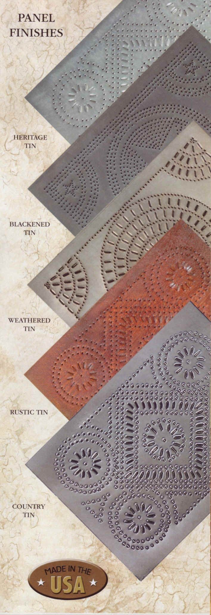 Punched tin finishes - for ceilings, backsplash or renovations. Love the heritage!!