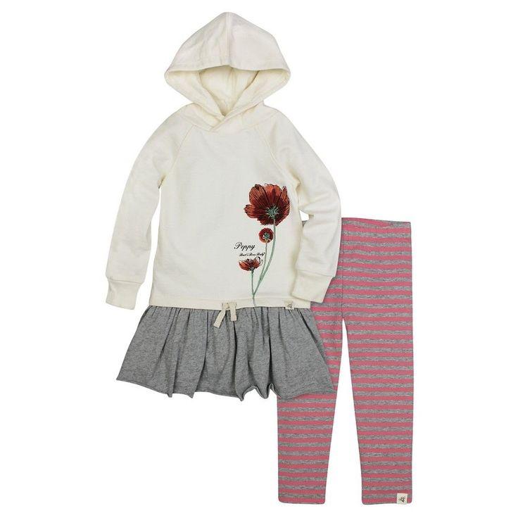 Burt's Bees Baby Girls' Hooded French Terry Dress & Legging - Off White, Infant Girl's