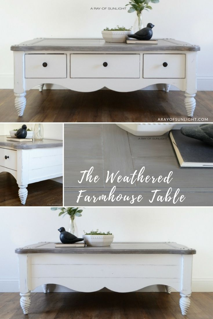 Farmhouse Style End Side Table Distressed White Paint Dark Stain On Top By Analia Pastor Furniture Restoration Painted Side Tables Painted Bedroom Furniture