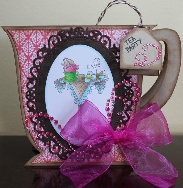 teacup card using Magnolia Stamp  http://scrapbooknewsandreview.com/