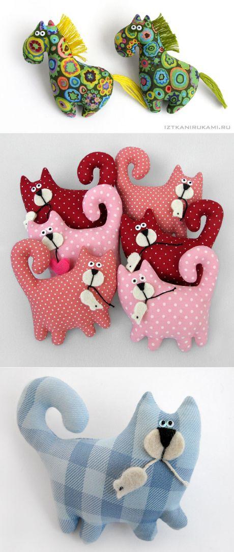 Идеи для подарков своими руками от IzTkaniRukami - текстильные украшения (лошадки и котики)
