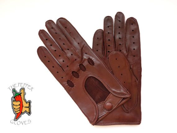 Men's tan brown lambskin leather driving gloves  by paprikastory