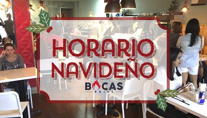 Nos unimos a las fiestas navideñas, y adecuamos nuestros horarios para disfrutar al máximo de esta época con ustedes. Ahora podrán venir por sus platos favoritos en horario especial. #BocasGrill #Christmas
