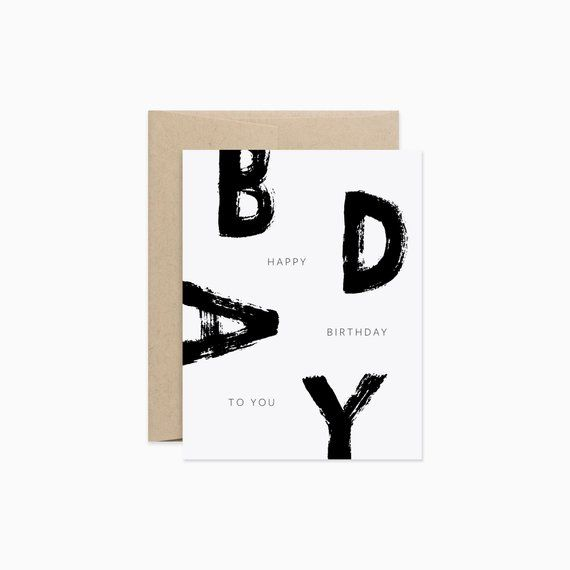 Brush Birthday Card Brush Lettering Black And White Birthday Modern Birthday Card Gcb12 Cool Birthday Cards Simple Birthday Cards Happy Cards