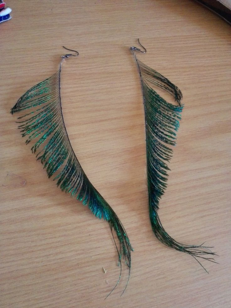 Side tail feathers of a peacock were used to create these earrings.