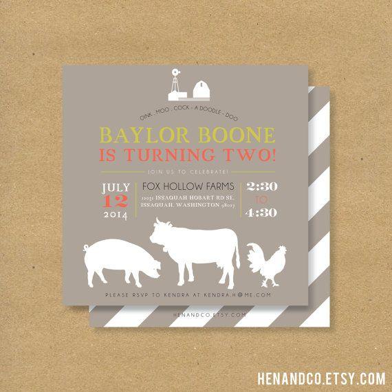 Printable FARM ANIMALS Birthday Party Invite - Barn Farm or Hoe Down Party on Etsy, $16.00