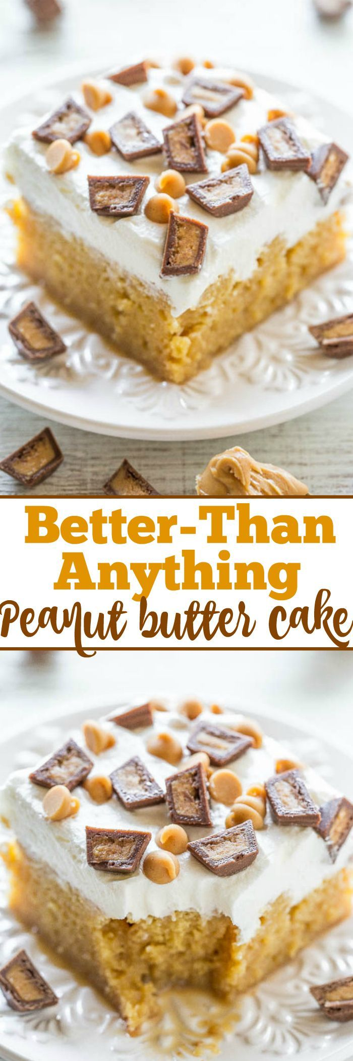 Better-Than-Anything Peanut Butter Cake – A peanut butter lovers dream: PB, PB chips, and PB cups! An easy, no-mixer poke cake that's drenched with caramel to keep it super moist! Lives up to it's name and tastes AMAZING! Great for parties!