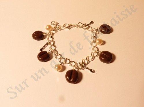 Bracelet grains de café, perles et cuillères gourmandes, fimo
