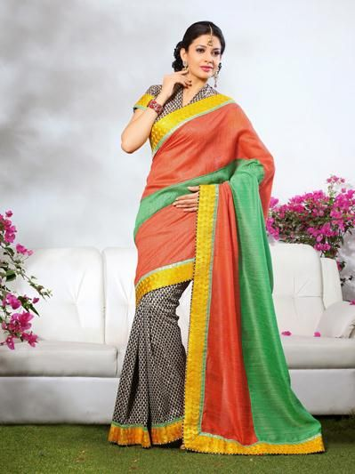 USD 48.74 Peach and Black Printed Saree  31895