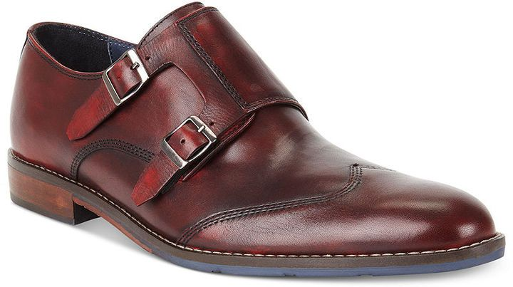 $135, Burgundy Leather Double Monks: Hush Puppies Style Monk Strap Shoes. Sold by Macy's. Click for more info: http://lookastic.com/men/shop_items/19605/redirect