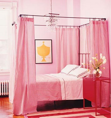 Use Workroom C Drape Panels In Barn Red To Adorn The Canopy Bed