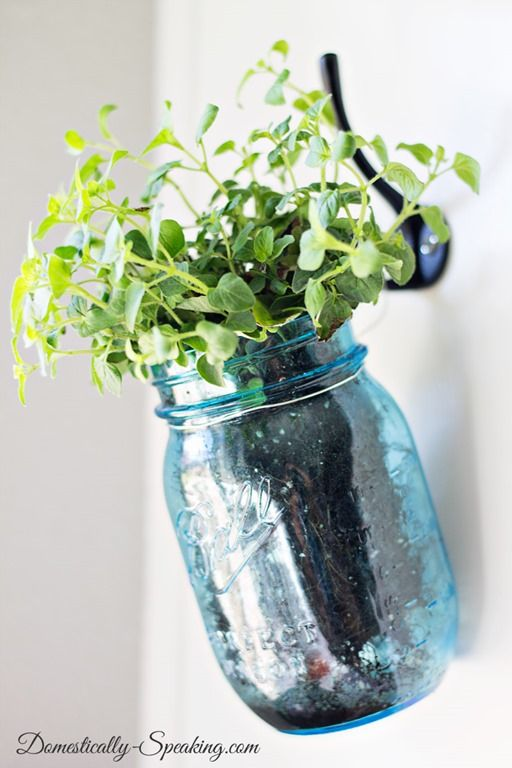 Hanging Fresh Herbs in Mason Jars via @domesticallyspeaking
