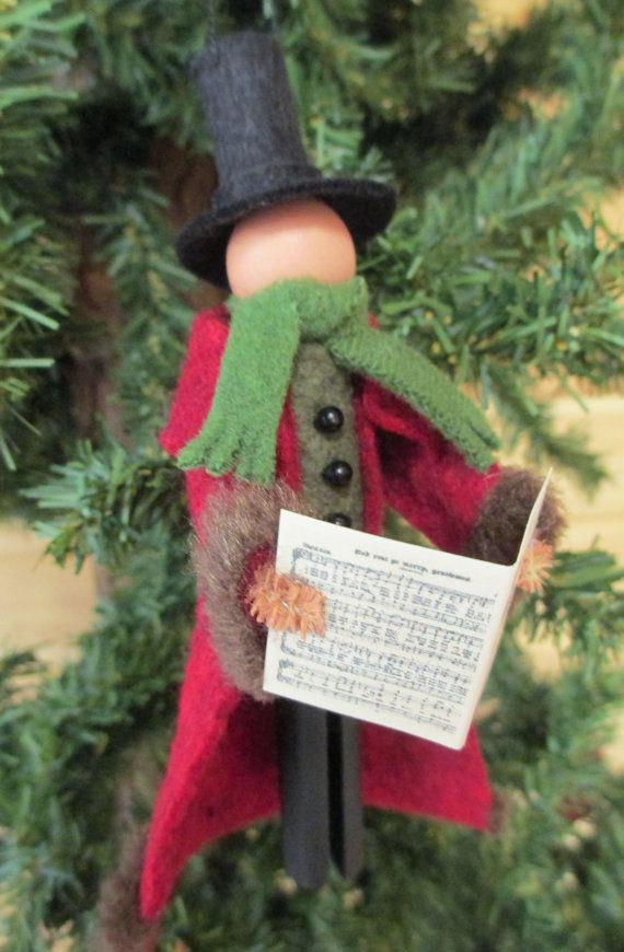 Christmas Caroler Gentleman Ornament Handmade by ModerationCorner