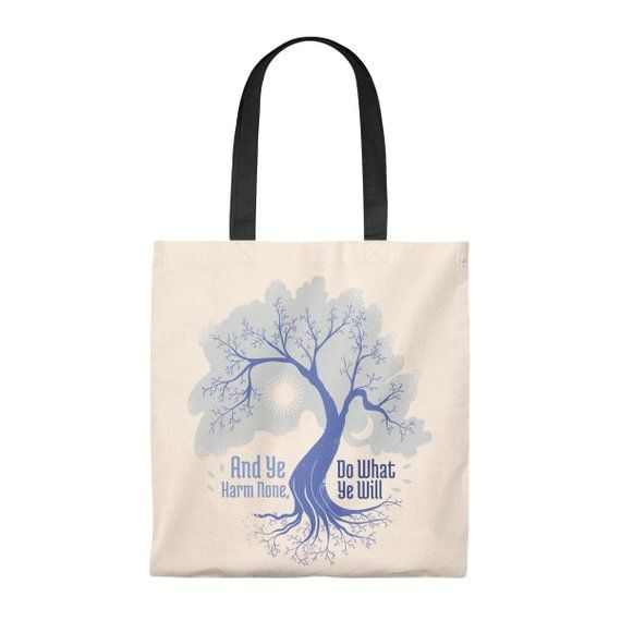 W is for WITCH cotton tote bag