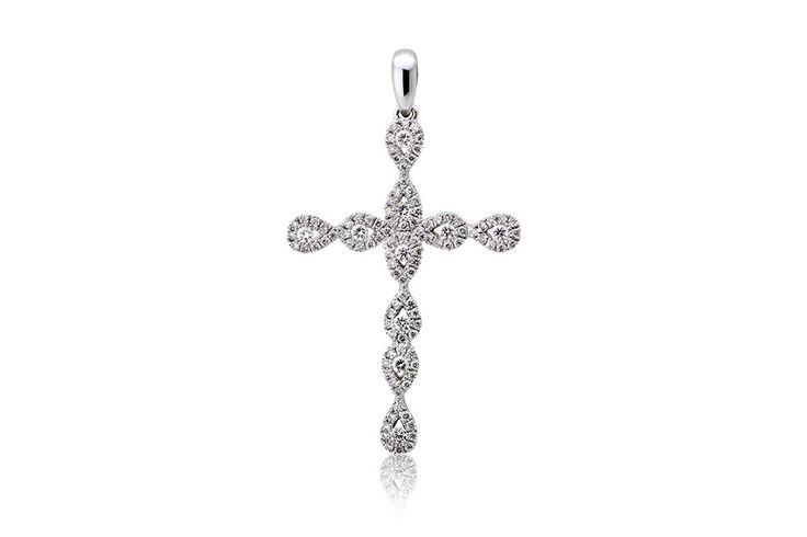 Σταυρός με διαμάντια μπριγιάν κοπής 0,62CT από λευκόχρυσο 18Κ. Cross with brilliant cut diamonds 0,62CT made by 18K white gold. Price : 980€
